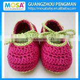 Crochet Newborn Baby Mary Jane Baby Girl Loafers Handmade Cotton Girls Booties Hot Pink strappy Shoes