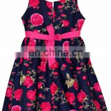Blue And Pink Floral Cotton Frock With Pink Belt And Flower