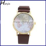 Hot Sale Retro World Map Watch Ladies Quartz Analog Fashion Dress Bracelet Wrist Watch Brown WP011