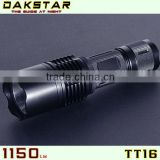 DAKSTAR TT16 LED 1150LM CREE XML T6 18650 Superbright Police Rechargeable Emergency Aluminum Tactical Flashlight Torch