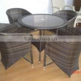 Modern rattan used coffee shop table and chairs wicker outdoor stainless steel coffee table