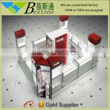 custom shopping mall wooden glass mobile phone display counter kiosk showcase design for sale