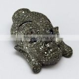Lucky Buddha !! Blue Sapphire & Diamond 925 Sterling Silver Pendant, Silver Jewellery India