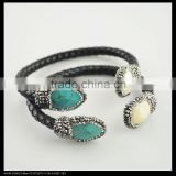 LFD-B0025 Wholesale Charms Turquoise & Pearl Pave Rhinestone Leather Bangles Bracelet in Black Color Jewelry Finding