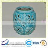 Turquoise Rustic Ceramic Cutout Round Outdoor Candle Holder Ball Lantern