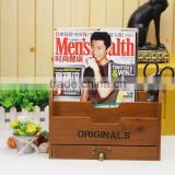 wooden Organizer box, carrying case document holder, wood compartment storage box, paper document holder for office
