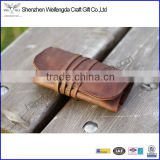 genuine leather tobacco holder packaging rolling tobacco pouch with belt