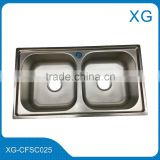 Stainless steel kitchen sink double bowl/ Kitchen sink double bowl with tray drain board