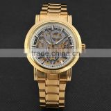 New Fashion Gold Skeleton Watch Men Luury Brand Self Wind Mechanical Wristwatches Male Stainless Steel Analog Clock W125