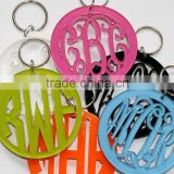 Hot sale lovely colorful laser cut monogrammed acrylic key chain                                                                         Quality Choice