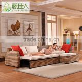 New Design Living Room Furniture Set Multi-Purpose King Queen Size Wicker Rattan Wooden Pull Out Corner Sofa Bed with Storage
