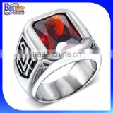 Wholesale cheap man's tungsten and titanium ring with red stone