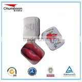 high quality Guangzhou small rectangle CMYK hinged travel pill mint card tin box