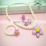 Beautiful sun flower jewelry sets pearl plastic necklace& bracelet&ring for girls