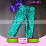 2016 Newest Mermaid Scale Stretch shiny fashion kids pom leggings soft and comfortable clothes green sparkle baby pants leggings