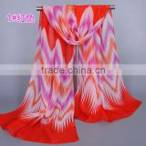 multicolor Zig Zag fashion Chiffon silk spring women thin scarf wrap neck scarves pashmina shawls