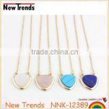 Simple design hot selling necklace with heart shape pendant natural stone heart necklace