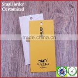 Custom creative yellow size paper hang tag labels for dresses sock