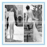 2014 New Style Bateau Neckline Long Sleeve Mermaid Lace Appliqued Split Long Wedding Dress (WDID-1015)