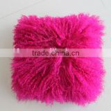 Wholesale High Quality Best Selling Comfortable Lamb Fur Pillow Genuine Mongolian Sheep