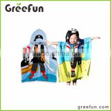 Machine-washable 100% Cotton with Reactive Printing No Color Fading Pirate Hooded Poncho Towel