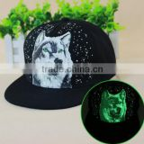 Hot selling Most popular wolf hats with led light spark snapback Lighted in the Dark fluorescent baseball trucker hiphop caps