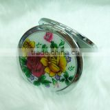 Round stainless steel makeup mirror/professional metal cosmetic mirror with epoxy sticker