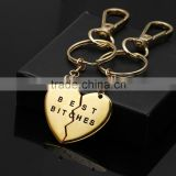 1 Pair Best Bitches Friends BFF Heart Pendant Friendship Necklace Key Chain Gift