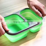 Factory supply food grade silicone collapsible silicone lunch box /silicone foldable bowl
