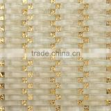 JY-G-15 Temple decorative mosaic Beige wave crystal and gold foil glass mixed mosaic decorative wall tile