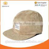 brown khaki colour suede 5 panel custom cap custom woven lable camp blank full suede 5 panel cap