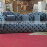 Retro Button Tufted Upholstered Chesterfield Fabric Sofa , Classic Pure Linen U-Shaped Couch Sofa, Arabic Style Sofa Set