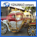 White horse-drawn cinderella pumpkin Vis-a-vis carriage with cover for sale