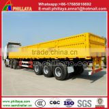 Heavy duty tri axle flatbed side wall open cargo semi truck trailer for sale draw bar trailer