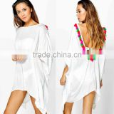 Ribbed Swimwear Fabric Tassel Open Back Beach Kimono Cover up Tunic Beachwear Tops Shirts Crochet Swimwear