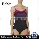 Womens One Piece Swimsuit Custom Color Striped Shelf Bra Square Neck Women Swimwear Built In Padding Front Lining Bodysuit