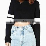 Women's Loose Fit Striped Long Sleeve Crop Top Sweatshirt Black Plain Cotton Poly Cropped Hoodie Top
