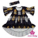 Ruffle short front long back casual FAUX SUEDE baby dress printed father & bow headband kids designer frock