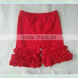 Summer dropship girlsclothes red cotton shorts solid baby icing ruffle pants