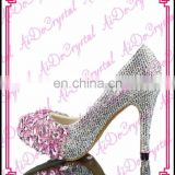 Aidocrystal 2016 pink with white crystal rhinestone round toe wedding low heel girls party shoes