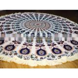 Exclusive Handmade natural Print Beach Throw Mandala Tapestry Hippie Yoga Mat Table Runnerbeach throw online