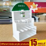 White logo custom pmma plexiglass medicine display stand shelf acrylic countertop display for medicine