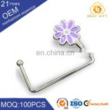 Fashion lady crystal metal foldable handbag holder ,custom logo popular hook bag hanger for table