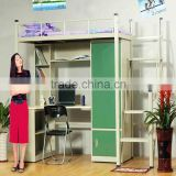 Modern design school use metal bunk bed with desk and wardrobe                                                                         Quality Choice