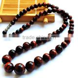 Charming Tiger Eye Stone Beads Round Jade Necklace