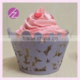 Fancy cupcake wrappers laser cutting candy wrapper Laser cut flower cupcake wrapper,paper cupcake wraps for party DG-71