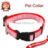"Red Blue Brown Nylon Dog Collar with Stripe Pattern 3/4"" Width 13-19"" Adjustment"
