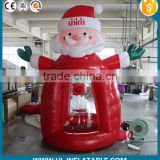 Hot sale!!Christmas promotional inflatable Christmas santa claus money booth for advertisment