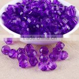 Dark Purple Color Wholesales 8mm to 20mm Stock Acrylic Clear Transparent Faceted Beads for Kids Girls Jewelry