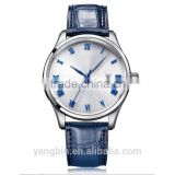 Index dial 200m waterproof blue genuine leather strap mens stylish waterproof watch